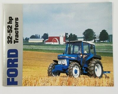 Ford Tractor 32-52 Hp Dealer Sales Information Brochure With Specs 1986