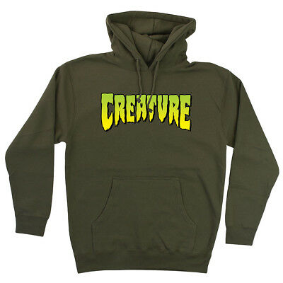 Creature Logo Pullover Hooded L/S Sweatshirt Mens Army Green 4424014
