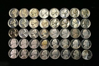 JEFFERSON NICKEL (5c) Proof Roll With Problems Rejects 40 US Coins #1