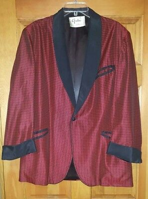 Vintage 50s Grodins of California black and red checked smoking jacket Hugh...