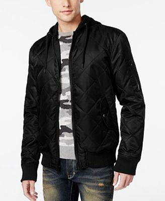 American Rag Quilted Hooded Bomber Jacket Deep Black Mens Size Small New