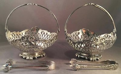 Pair Of Antique English Sterling Silver Sugar Cube Baskets Dated 1906 With Tongs