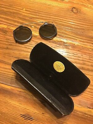 Antique Vintage Sunglasses Glasses Spectacles Original Case Round Lens Clip On