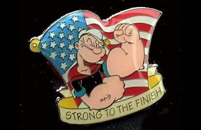 Popeye Strong To The Finish W/ Usa Flag Pin!