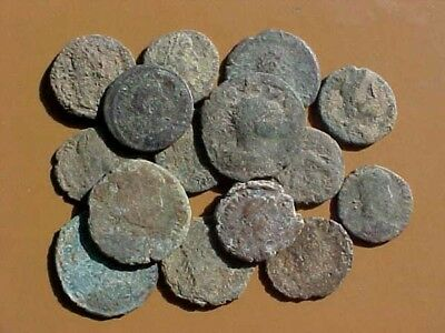 15 Uncleaned Late Roman Bronze Coins