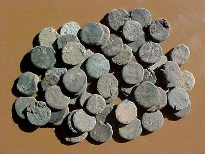 60 Uncleaned Late Roman Bronze Coins 8-11 mm