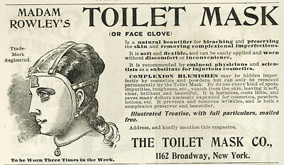 1895 Woman Wearing Madam Rowley's Toilet Mask Face Glove Vintage Print Ad