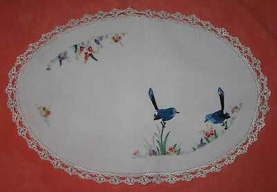Vintage Large Embroidered Doily Blue Wren & Flowers