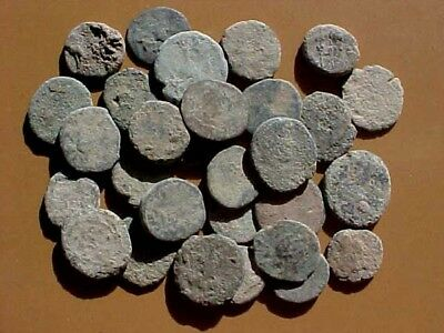 30 Uncleaned Late Roman Bronze Coins