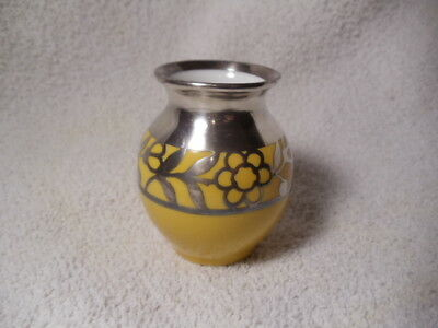 """Vintage Thomas Silver Overlay Yellow Vase Signed """"spahr""""   2 1/2"""" Tall Germany"""