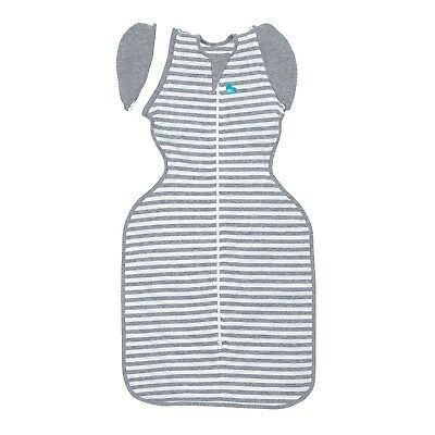 Love to Dream Swaddle Up 50/50 - 3 SIZES - GREY STRIPE 1TOG -ZIP UP BABY SWADDLE