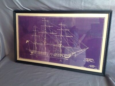 Framed 1929 Copy of Blueprint of USS Frigat  Constitution Sail Plan