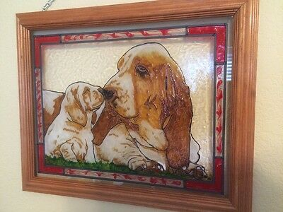 BASSET HOUND Painted Stained Glass by Liz, Mom & Pup