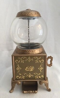 "Vintage 2007 Jelly Belly Bean Gold Gumball Machine Dispenser 9"" Glass & Metal"