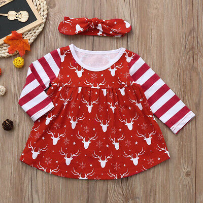e7bbe1fc4b04 Newborn Infant Baby Girls Deer Striped Princess Dress Christmas  Clothes+Headband