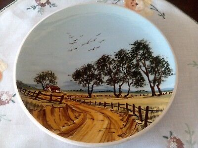 Australian Pottery - Guy Boyd - Hand Painted Plate - Rural Scene