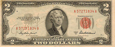 1953-A $2 US Note Red Seal,  Medeium to High Grade Note  (Z-55)