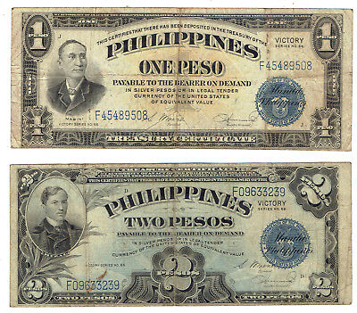 Philippines P#94 & #P95a 1944 VICTORY ISSUE 1 & 2 Pesos bank notes (n=2)