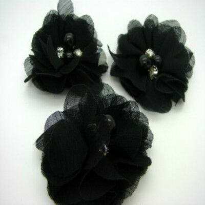 Black Chiffon Flower with Bead Centre x 2 RNB