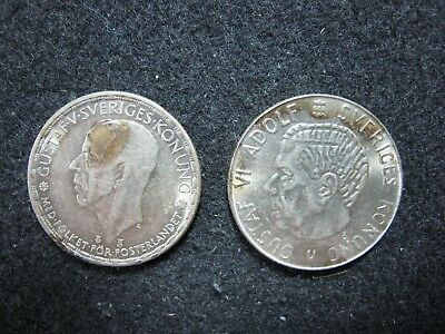 Sweden Krona Pair 1948 & 1962 Silver Coins High Grade Lusters too ~