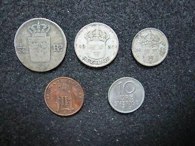 LOT OF 5 Mixed Coin Lot from Sweden Minors, Silver Included LOOK !