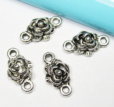 15pcs Antique Silver Rose Flower Charm Pendants 10x18mm Connector A207-2