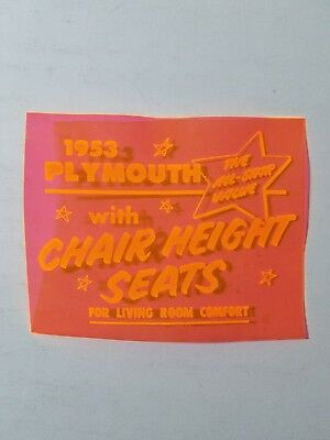 1953 Plymouth Plastic Showroom Plaque '53