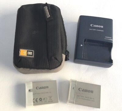 Canon Battery Charger CB-2LX Plus 2 Battery Packs NB 5L with Case Logic Case