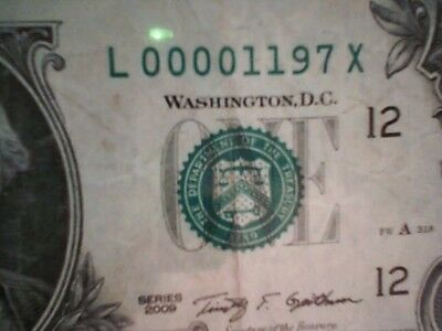 Low Numbered $1 2009 Banknote