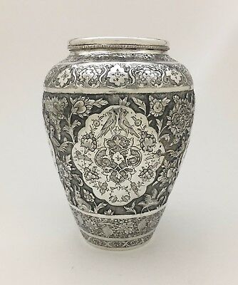 Finest Quality Persian Isfahan Islamic Sterling Silver Artist Signed Flower Vase