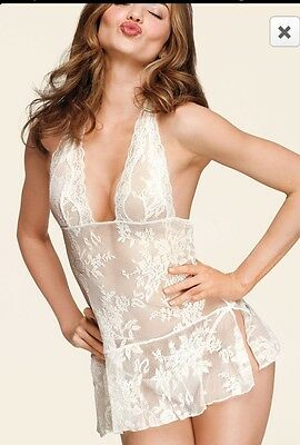 Victoria's Secret VS Angel Halter Lace Mesh Babydoll Size XL SUPER SEXY