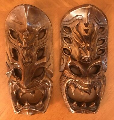 Pair Of Vintage Hand Carved Demon Dragon Wood Mask Tribal Folk Art Wall Hanging