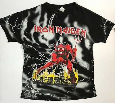 Men's IRON MAIDEN Vintage T-Shirt Large 1992 The Number of the Beast Full Print