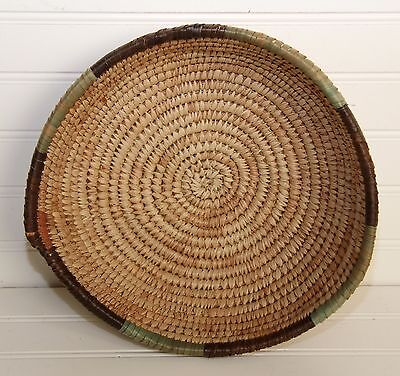 "Vintage Hand Woven Basket Bowl Coil Native Grass Reed 10.5"" Estate Find - NICE!"
