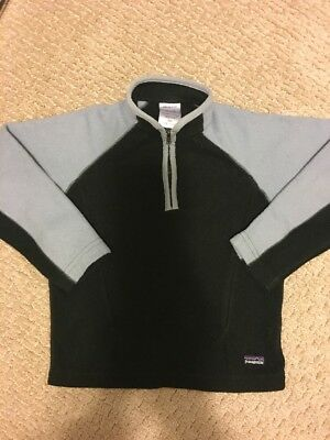 PATAGONIA KIDS Fleece Pullover 1/2 Zip Black Gray XS (5-6)