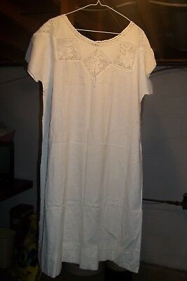 Ladies Victorian Whites Cotton Gown with Crochet Detail ~ XLarge