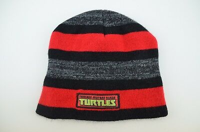 Nickelodeon Beanie Cap Teenage Mutant Ninja Turtles Skully Hat Grey Red Logo