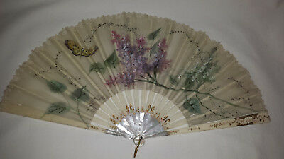 Antique Handheld Fan Mother pearl and Ivy sticks - handpainted leaf C1840s
