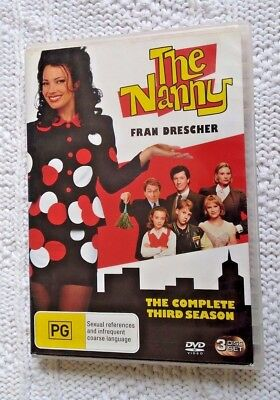 The Nanny : Season 3 (DVD, 3-Disc Set) REGION-4, LIKE NEW FREE POST IN AUSTRALIA