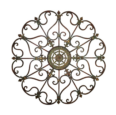 Metal Wall Decor with Circular Intricately Patterned Antique Design 29x4x29 in
