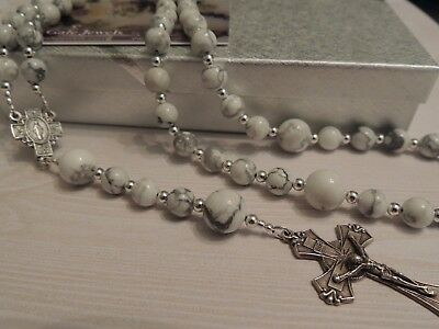 Handmade Rosary Beads Necklace- White Howlite Gemstone Beads-Gift Boxed