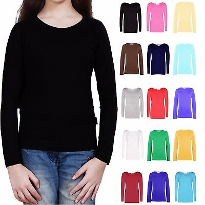 Kids Girls Long Sleeve Plain Top Children School Tops Tee T-Shirt New 2-12 Years