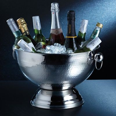 BarCraft Champagne Bucket Large Hammered Stainless Steel Bottle Wine Ice Bowl