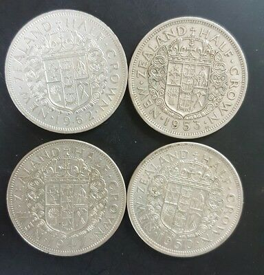 New Zealand Half Crowns. (4 total) 1947.1950.1953.1962  VF+...