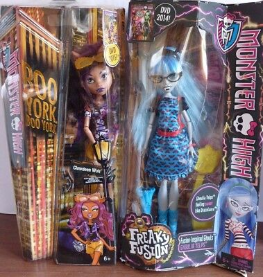 BOXED Boo York Clawdeen, Freaky Fusion Ghoulia & Accessories Monster High Bundle