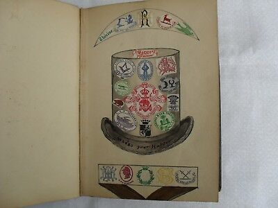 Antique Victorian Book CRESTS & MONOGRAMS Coats of Arms Tooled Leather Decoupage