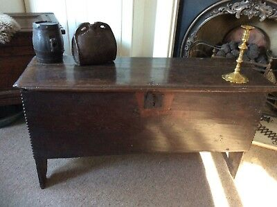 17Th Century 6 Plank Oak Coffer Circa 1650...