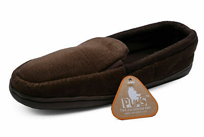 Mens Brown Slip-On Indoor Flat Warm Comfy Cool Slippers House Shoes Sizes 7-11