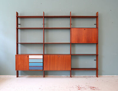 60er TEAK REGALSYSTEM WANDREGAL MID-CENTURY 60s WALL UNIT SHELVING SYSTEM SHELF
