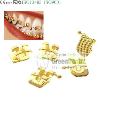 "1 Set(20) 022"" Golden Bracket Dental Orthodontic Buccal Tube Mini Roth Hook 345"